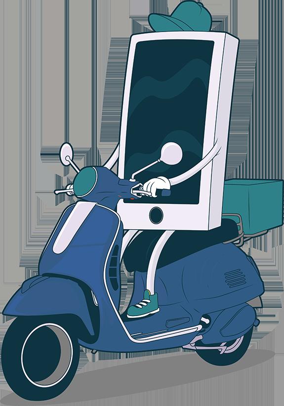 MerMobils mobil på en moped